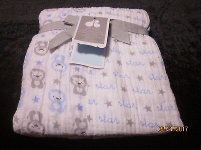 new JUST BORN muslin 2 SWADDLE BLANKETS baby lions LIGHTWEIGHT COTTON  white boy