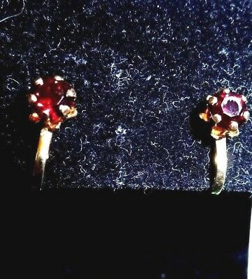 Vintage Gold Tone Dark Red Glass Stone Clasp Earrings