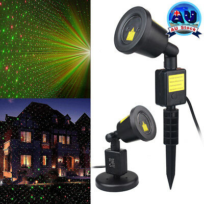 Xmas Laser Projector Light Show Moving R&G Sky Star Garden Party House Landscape