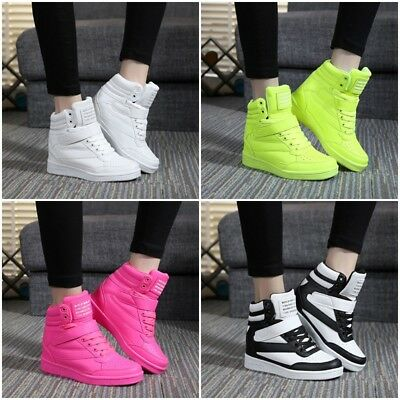 Womens Sneakers Lace Up Athletic High Top New Wedge Heel Casual Shoes Boots