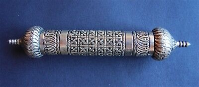 Antique Solid Silver Scroll Holder Middle Eastern Qalamdan Ottoman Box Case