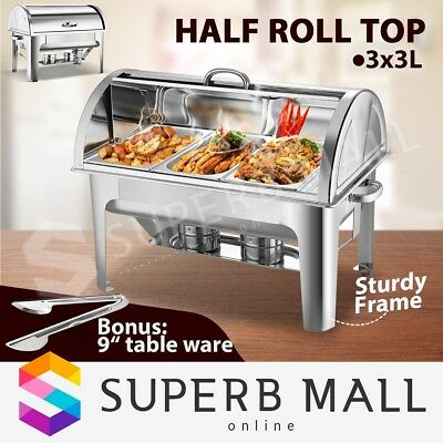 3Lx3 Bain Marie Bow Chafing Dish Stainless Steel Half Roll Top with Food Pans 9L