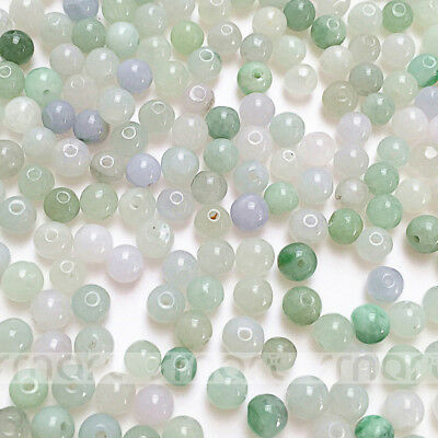 100PCS Natural Pea Green Jade Gemstone Round Loose Beads 5mm