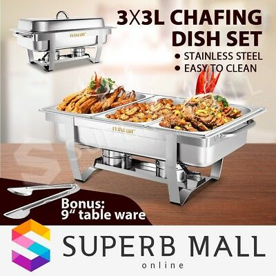 3Lx3 Bain Marie Bow Chafing Dish Stainless Steel Buffet Warmer Stackable Set 9L