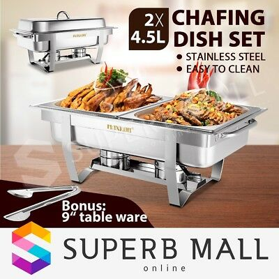 4.5Lx2 Chafing Dish Bain Marie Bow Stainless Steel Buffet Food Stackable Set 9L