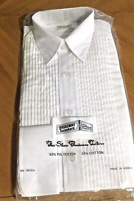 Brand New Broadway Tuxmakers Men's Pleated Tuxedo Shirt With Lay Down Collar