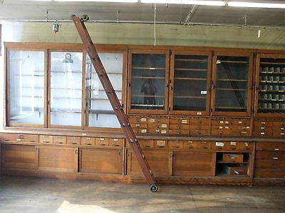 Antique Myers Country Hardware Store Rolling Ladder And Track - Rare