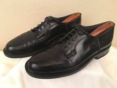 Vintage Flagg Bro. Black Shell Cordovan Dress Lace Up Oxford Shoes Size 9.5-10 M