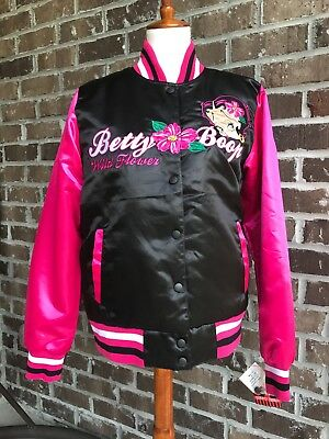 Betty Boop ~ jacket ~ satin ~ embroidered ~ women's ~ medium ~ pink and black ~