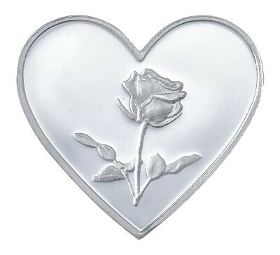 "1 Gram .999 Solid Silver Heart Shaped Bullion, New:  "" Heart With Rose """
