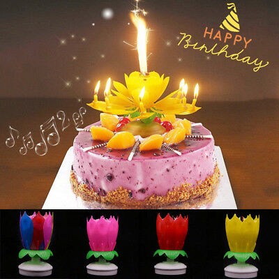 Delicate Double Layer Lotus Flower Musical Candle Birthday Decoration New