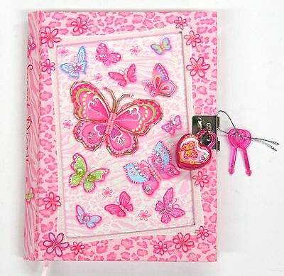 Girls Lockable Diary - Butterfly Girls Diary with Lock Girls Journal Butterflies