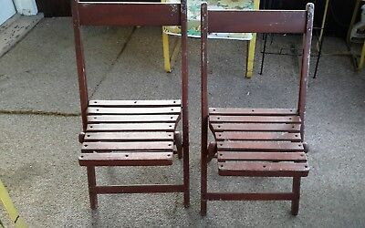 Two Antique Vintage Wooden Folding Chairs