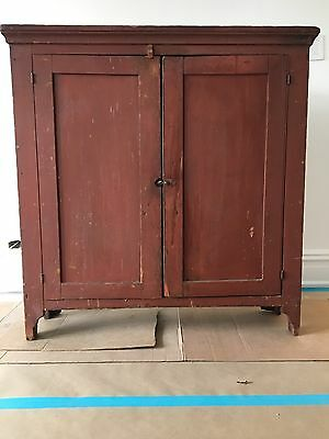 Primitive Jelly Cupboard Kitchen Pantry Cabinet Original Red Two Door Closet