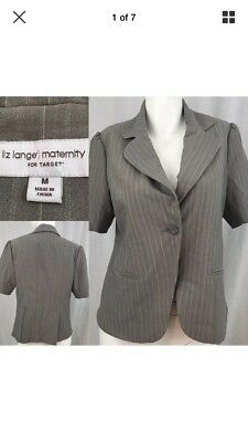 Liz Lange Maternity M Medium Blazer Pinstriped Career Short Sleeve