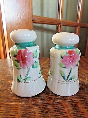 Vintage Handpainted Salt And Pepper Shakers With Flowers