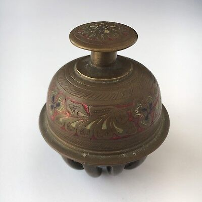 CLAW BELL Vintage Indian Elephant Brass with Floral Motif and Nice Patina