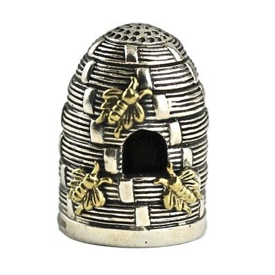 Edwardian Style Beehive With Gold Bees Thimble 925 Sterling Silver