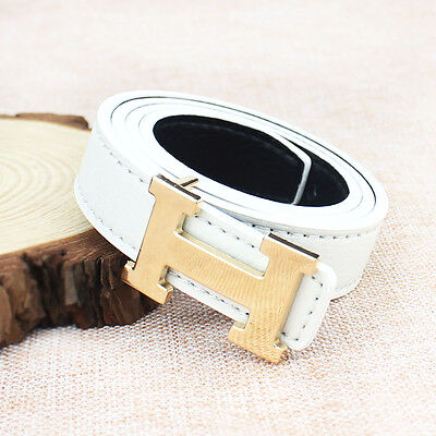 White Fashion Casual Children Faux Leather Adjustable Belts For Boys Girls Gift