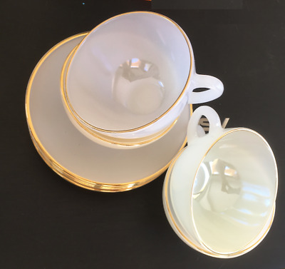 Set of 4 Vintage Pastel Tea Cups & Saucers by Arcopal France