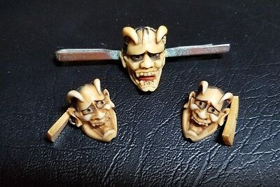 Very old carved detailed antique noh mask cufflinks AND clip set