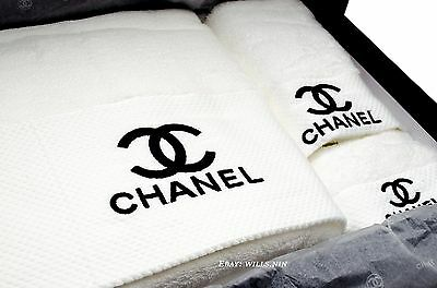 Chanel VIP 3 PCS White & Black Towels Gift Set in Box & Ribbon New