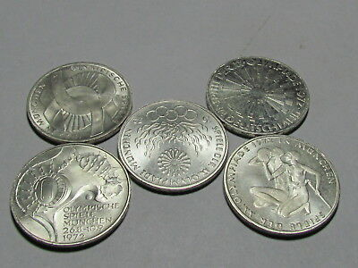 Set of 5 1972 Munich Olympics silver 10 mark Coins #3