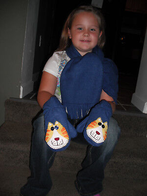 Childs Fleece Scarf And Appliqued Cat Mittens Handmade