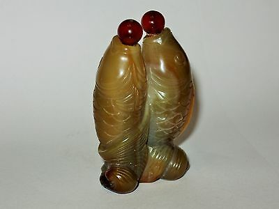"""Vintage Chinese Carved Agate """"Twin Fish"""" Snuff Bottle"""