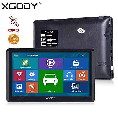 XGODY E80 7'' Sat Nav Truck Car GPS Navigation 16GB Lane Assist Free 2D 3D Maps