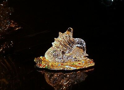 Rare Waterford Ireland Crystal Dragon 18 Ct Gold Base + Box All Leaflets