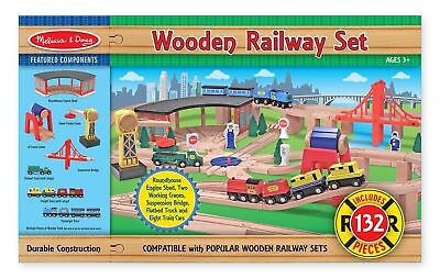 Melissa & Doug 132 Piece Wooden Railway Set & Trains New Free Shipping