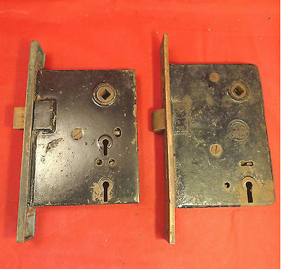 Lot 2 Antique1 RHCo Mortise Door Locks Latches Push Button Entry Brass Deadbolt