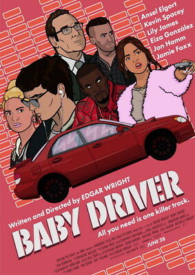 """057 Baby Driver - Ansel Elgort Car Crime Actioon UK Movie 24""""x33"""" Poster"""