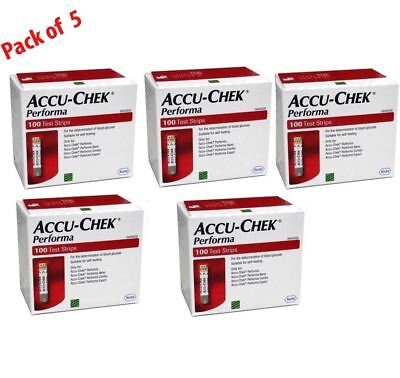 Accu-Chek Performa 500 Test Strips (5 Boxes x 100 Each): Expiration Year 2018