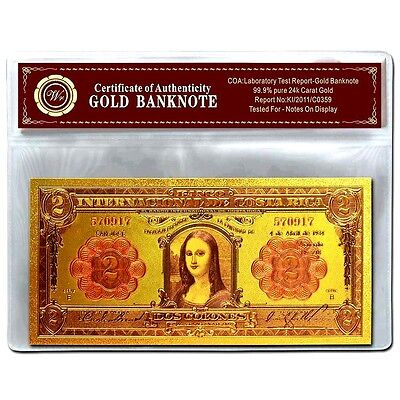 BANKNOTE Costa Rica Gold Color Coloured 2 Colones UNC 24KT COLLECTABLE gift