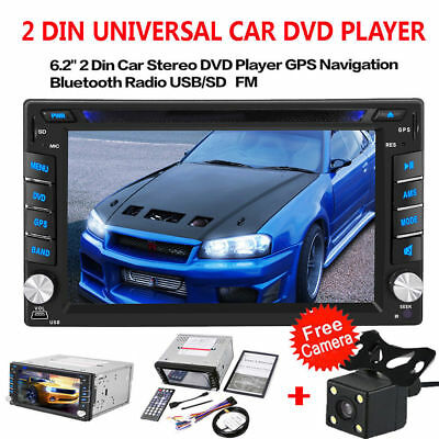 "GPS 6.2"" Double 2Din HD Car Stereo DVD CD Player FM Radio TV Bluetooth +Camera"