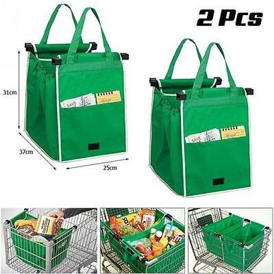 2 Pcs As Seen On Tv Grab Bag Clip-To-Cart Reusable Grocery Shopping Bags Pack