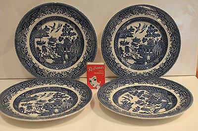 4 Willow Plates Blue White Side Bread Butter Plate Churchill England Vintage