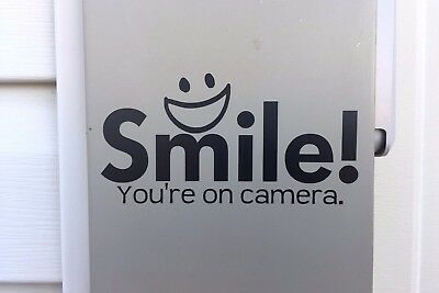 Smile You're on Camera Window Decal, Security Stickers, Camera Warning Sticker
