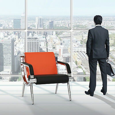 PU Leather Office Reception Waiting Chair Visitor Guest Chair Heavy Duty, Orange