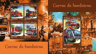 Z08 IMPERFORATED ST16209ab Sao Tome and Principe 2016 Fire Engines MNH Set