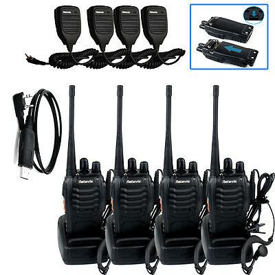 4pc Retevis H-777 Walkie Talkies UHF400-470MHz 2-Way Radio+Speaker Mic+USB Cable