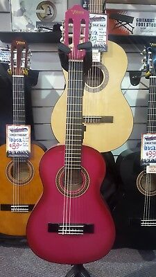 Valencia 1/4 Size Classical Guitar for Kids with Headstock Tuner and Capo - Pink