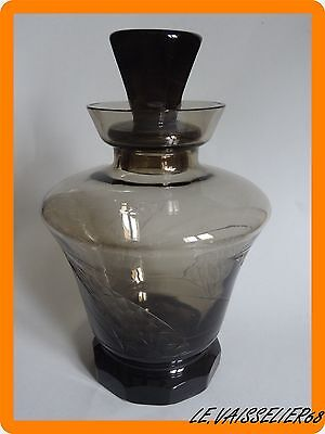 Ancienne Carafe A Vin Verre Fume Style Art Deco Moser