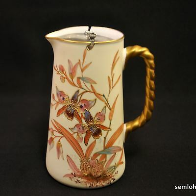 Pointons Syrup Pitcher Jug Swing Lid 1883-1891 Orchids w/Raised Gold Rope Handle