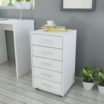 Office Drawer Unit Document Storage Cabinet Organiser with Castor 5 Drawer White