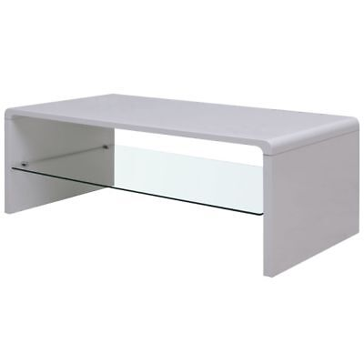 Vase Cocktail High Gloss Coffee Table MDF Glass White Living Room Home Decor