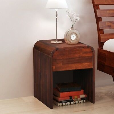 Bedside Cabinet Side Stand Telephone Table 1 Drawer Acacia Wood Brown Bedroom