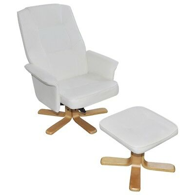 New White Artificial Leather TV Armchair with Foot Stool 73 x 77 x (86 - 101) cm